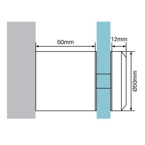 STANDOFF SS316 – 50mm DIAMETER, 50mm BODY