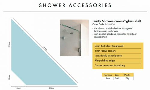 Purity Shower – 10mm Glass SHELF – 250mm x 250mm