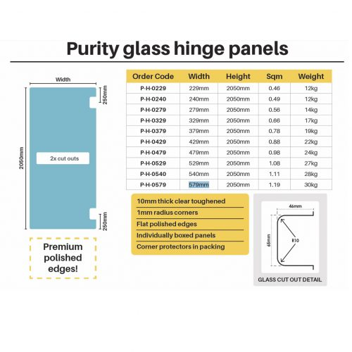 Purity – 10mm Glass Hinge Panel