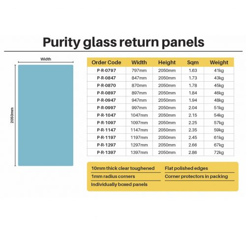 Purity Shower – 10mm Glass RETURN