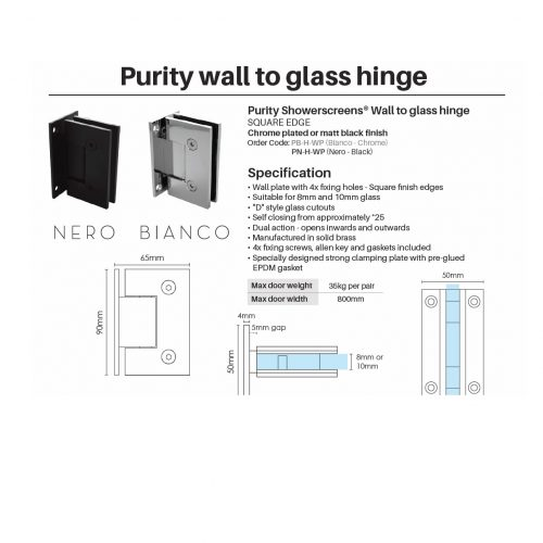 Purity wall to glass hinge