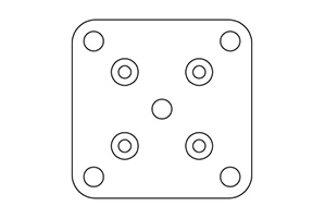 Australis 50mm Series – BASE PLATE Only – 100x100mm (with countersunk holes