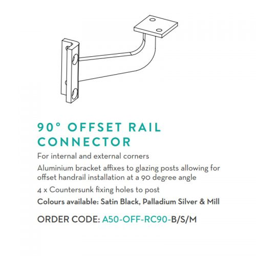 Australis offset 90-degree rail connector