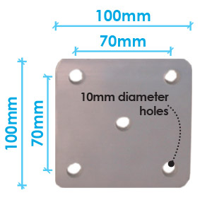 Flat Base Plate - 100x100mm - with 10mm holes