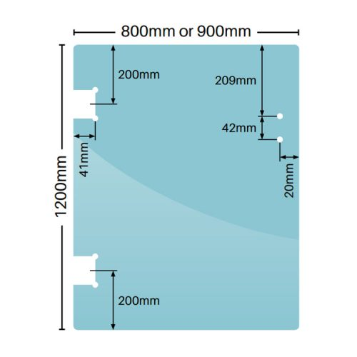 12mm Polaris glass to glass gate panel – 800mm x 1200mm
