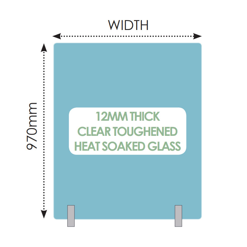 No hole 12mm toughened heat soaked glass – 1650mm x 970mm
