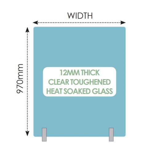 No hole 12mm toughened heat soaked glass – 450mm x 970mm