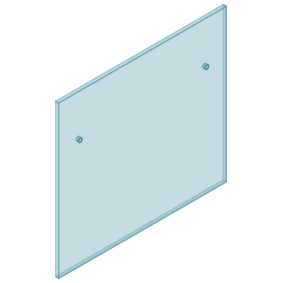12mm Clear TGH HEAT SOAKED Glass - Euro Offset NO HOLE Balustrade 1100mmW x 970mmH