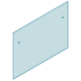 12mm Clear TGH HEAT SOAKED Glass - Euro Offset NO HOLE Balustrade 1350mmW x 970mmH