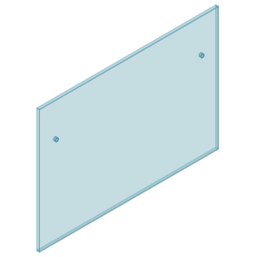 12mm Clear TGH HEAT SOAKED Glass - Euro Offset NO HOLE Balustrade 1450mmW x 970mmH