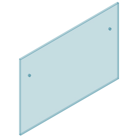 12mm Clear TGH HEAT SOAKED Glass - Euro Offset NO HOLE Balustrade 1550mmW x 970mmH