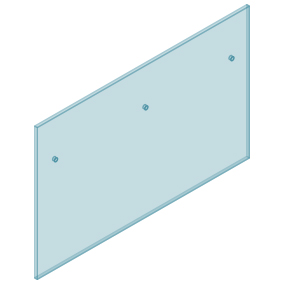 12mm Clear TGH HEAT SOAKED Glass - Euro Offset NO HOLE Balustrade 1600mmW x 970mmH