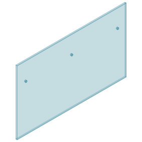 12mm Clear TGH HEAT SOAKED Glass - Euro Offset NO HOLE Balustrade 1750mmW x 970mmH