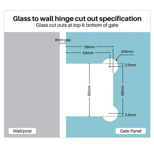 Glass to wall hinge cut out specification
