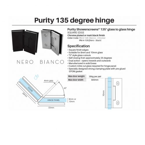 Purity 135 degree hinge