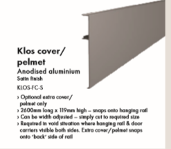 KLOS Sliding Rail System – 2600mm long x 119mm High Snap-on Front Cover Plate Satin Anodised Aluminium