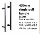 Single Pull Handle 450mm Long