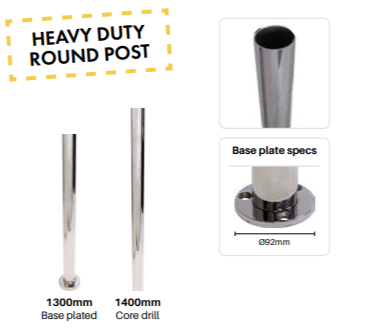 Round 50mm Core Drill Heavy Duty Post 1400mmH